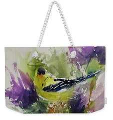 Yellow Bird In The Thistles Weekender Tote Bag