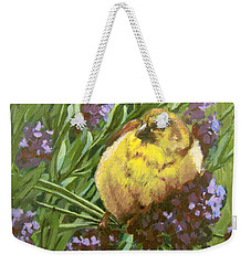 Weekender Tote Bag featuring the painting Yellow Bird by Karen Ilari