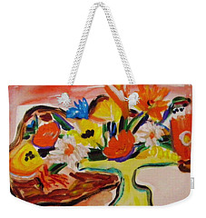 Yellow Blown Glass Vase Weekender Tote Bag