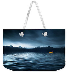Weekender Tote Bag featuring the photograph Yellow Boat by Bess Hamiti