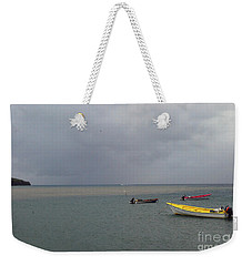 Weekender Tote Bag featuring the photograph Yellow Boat by Gary Wonning