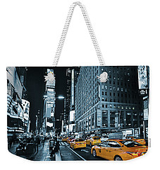 Yellow Broadway At Night - Nyc Weekender Tote Bag