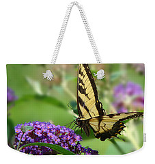Yellow Butterfly On Purple Weekender Tote Bag