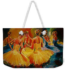 Yellow Costumes Weekender Tote Bag by Khalid Saeed