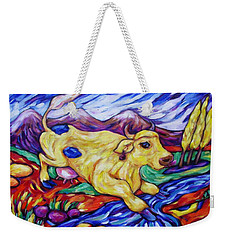 Yellow Cow Jumps The Creek Weekender Tote Bag