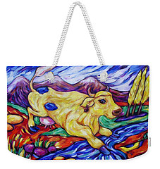 Weekender Tote Bag featuring the painting Yellow Cow Jumps The Creek by Dianne  Connolly