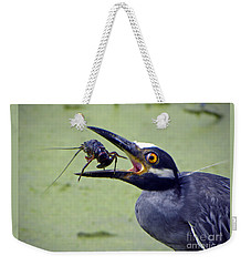 Weekender Tote Bag featuring the photograph Yellow Crowned Night Heron  by Savannah Gibbs