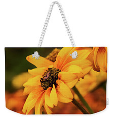 Weekender Tote Bag featuring the photograph Yellow Dark by Mary Jo Allen