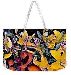Weekender Tote Bag featuring the photograph Yellow Daylilies by Kathie Chicoine