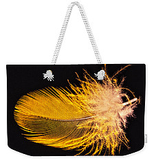 Yellow Feather Macro Weekender Tote Bag