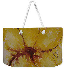 Weekender Tote Bag featuring the drawing Yellow Flower by AJ Brown