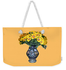 Weekender Tote Bag featuring the photograph Yellow Flowers In Vase by Francesca Mackenney