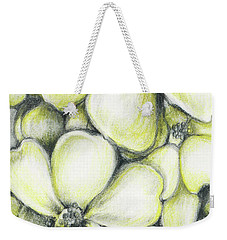 Weekender Tote Bag featuring the drawing Yellow Flowers Pencil by Melinda Blackman