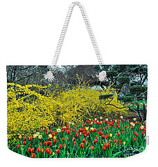 Weekender Tote Bag featuring the photograph Yellow Forsythia by Diana Mary Sharpton