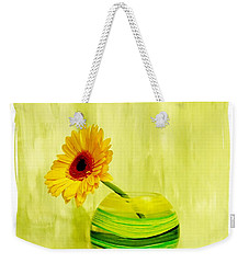 Yellow Gerber Matching Vase Weekender Tote Bag