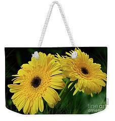Weekender Tote Bag featuring the photograph Yellow Gerbera Daisies By Kaye Menner by Kaye Menner
