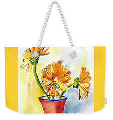Yellow Gerbera Daisies In A Red And Blue Delft Vase Weekender Tote Bag