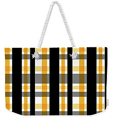 Weekender Tote Bag featuring the photograph Yellow Gold And Black Plaid Striped Pattern Vrsn 1 by Shelley Neff