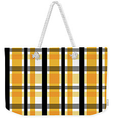 Weekender Tote Bag featuring the photograph Yellow Gold And Black Plaid Striped Pattern Vrsn 2 by Shelley Neff