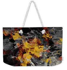 Weekender Tote Bag featuring the painting Yellow / Golden Abstract / Surrealist Landscape Painting by Ayse Deniz