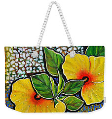 Yellow Hibiscus A Decorative Painting With Mosaic Style On Sale Weekender Tote Bag