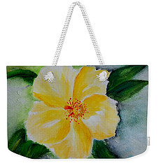 Yellow Hibiscus Weekender Tote Bag by Jamie Frier