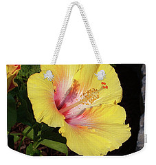 Yellow Hibiscus Weekender Tote Bag by Suhas Tavkar