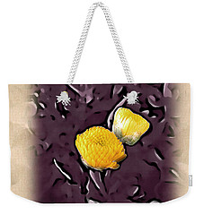 Weekender Tote Bag featuring the photograph Yellow In Purple by Joan  Minchak