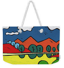 Weekender Tote Bag featuring the painting Yellow Lake by SpiritPainter