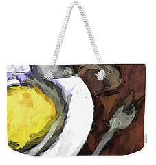 Yellow Lemon In A White Bowl With A Fork And A Wine Glass Weekender Tote Bag