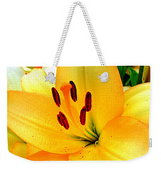 Weekender Tote Bag featuring the photograph Yellow Lilies 1 by Randall Weidner