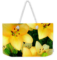 Weekender Tote Bag featuring the photograph Yellow Lilies 3 by Randall Weidner