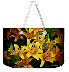 Weekender Tote Bag featuring the photograph Yellow Lilies by Joann Copeland-Paul