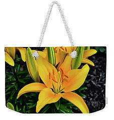 Weekender Tote Bag featuring the photograph Yellow Lily 008 by George Bostian