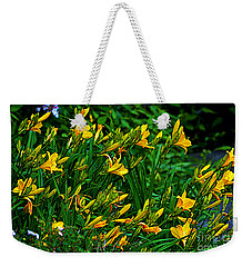 Weekender Tote Bag featuring the photograph Yellow Lily Flowers by Susanne Van Hulst
