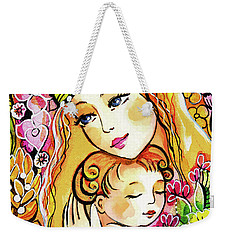 Weekender Tote Bag featuring the painting Yellow Madonna With Child by Eva Campbell