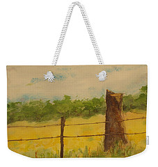 Weekender Tote Bag featuring the painting Yellow Meadow  by Vicki  Housel