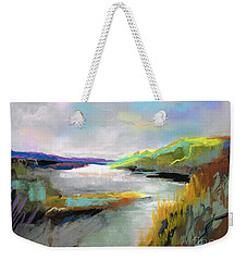 Weekender Tote Bag featuring the painting Yellow Mountain by Frances Marino