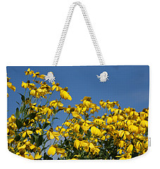 Yellow On Blue Weekender Tote Bag by Lois Lepisto