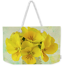 Yellow Pansies In Vase  Weekender Tote Bag
