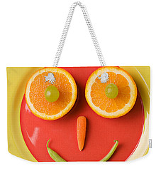 Yellow Plate With Food Face Weekender Tote Bag