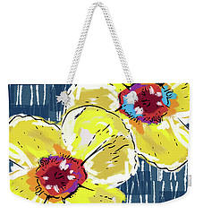 Weekender Tote Bag featuring the mixed media Yellow Poppies 2- Art By Linda Woods by Linda Woods