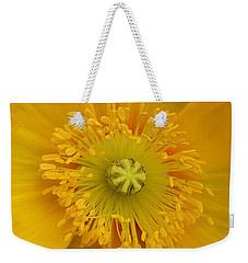 Yellow Poppy Flower Center Weekender Tote Bag