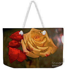 Weekender Tote Bag featuring the photograph Yellow Rose And Chinese Lanterns by Diana Mary Sharpton