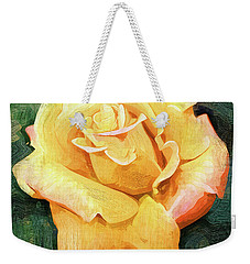 Yellow Rose Bloom In Oil Weekender Tote Bag