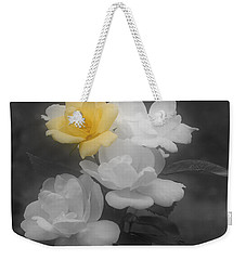 Yellow Rose Cluster Partial Color Weekender Tote Bag