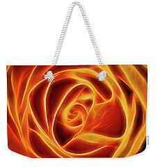 Weekender Tote Bag featuring the photograph Yellow Rose Glow Square by Terry DeLuco