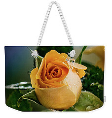 Yellow Rose In The Rain Weekender Tote Bag by Janis Knight