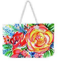 Yellow Rose Red Weekender Tote Bag by Nada Meeks