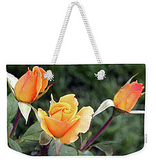 Yellow Rosebuds Weekender Tote Bag by Ellen Tully